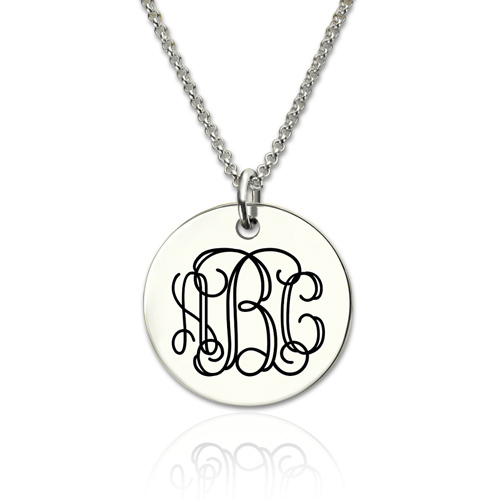 Stainless Steel Engraved Disc Monogram Necklace-Upload