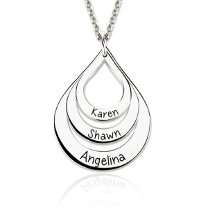 Engraved Drop Shaped 3 Names Necklace Sterling Silver
