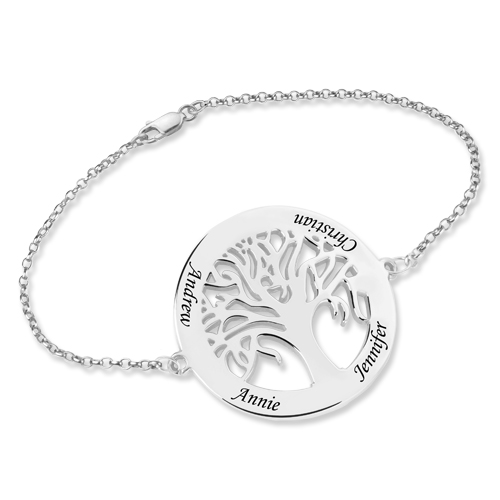 Personalized Engraved Family Tree Bracelet Sterling Silver