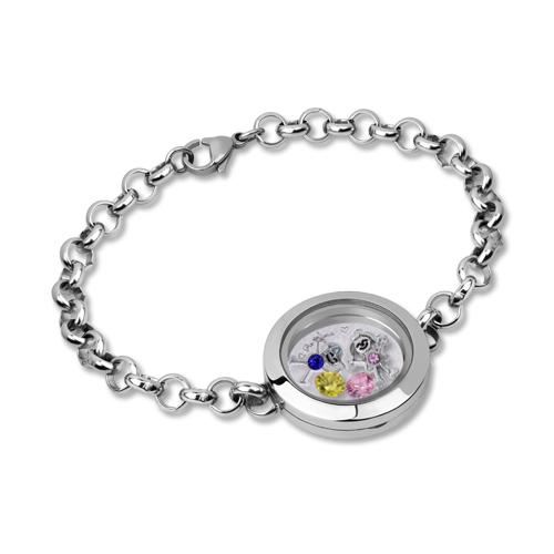 Kids Charm Floating Locket Birthstone Bracelet Stainless Steel