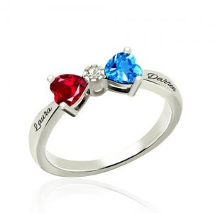 Custom Heart Birthstone Bow Ring Sterling Silver
