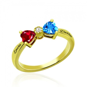 Custom Heart Birthstone Bow Ring Gold Plated