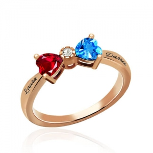 Custom Heart Birthstone Bow Ring In Rose Gold