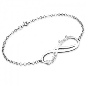 Personalized Infinity 2 Names Bracelet Sterling Silver