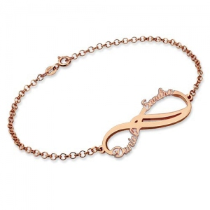 Personalized Infinity 2 Names Bracelet In Rose Gold