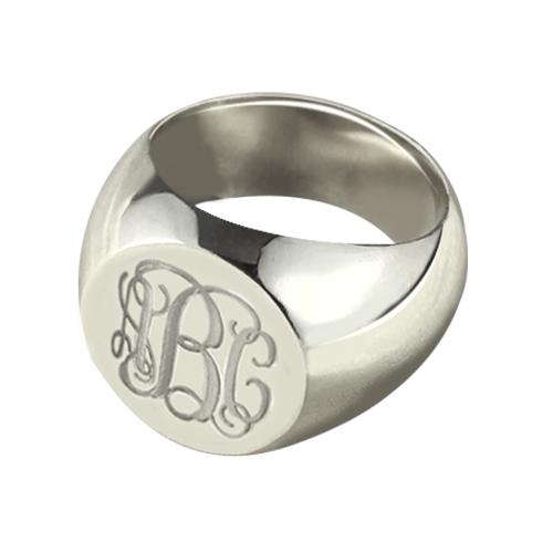 Engravable Signet Radiant Monogram Ring Sterling Silver