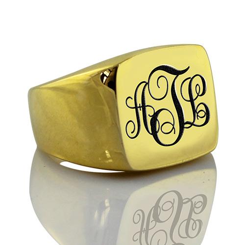 Custom 18K Gold Plated Monogram Signet Ring