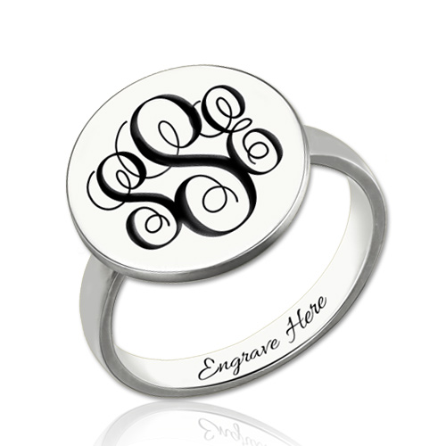 Disc Engraved Monogram Signet Ring Sterling Silver