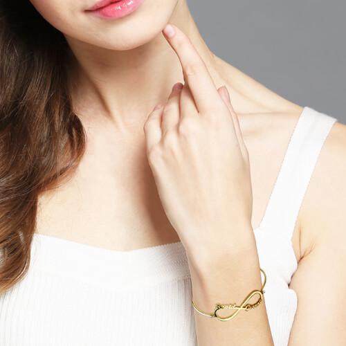 Custom Infinity 2 Names Bangle Gold Plated