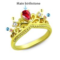 Romantic Birthstone Princess Crown Gold Plated