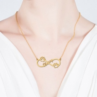 Cute Infinity Necklace With Dog Paw Gold Plated
