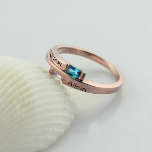 Custom Engraved Two Birthstones Ring in Rose Gold Promise Jewelry Gift for Her