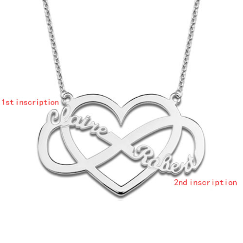 Customized Infinity and Heart Name Necklace Sterling Silver