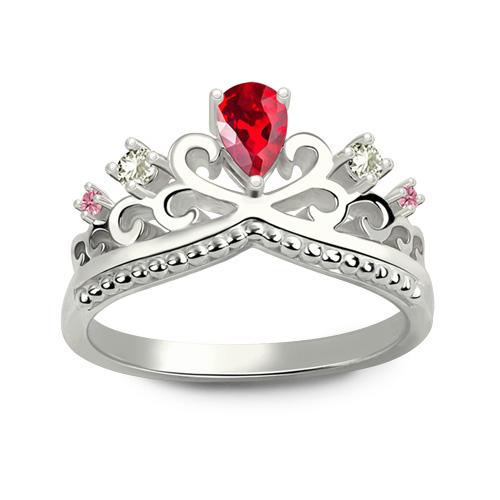 Romantic Birthstones Princess Crown Ring Silver