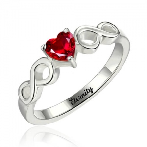 Engraved Infinity Ring With Heart Birthstone Silver