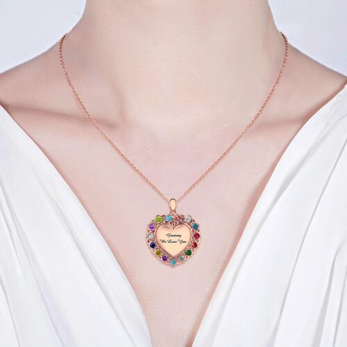 birthstone heart necklace