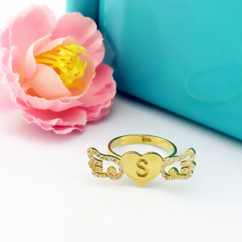 Angel Wings Heart Ring with Birthstone & Initial 18k Gold Plated