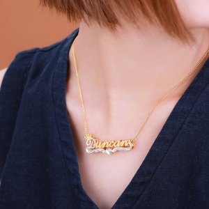 Personalized Double Name Plate Necklace in Gold