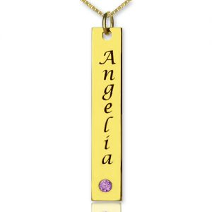 Personalized Name Tag Vertical Bar Necklace in Steel