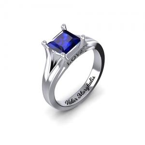 Custom Princess Cut Birthstone Ring Sterling Silver