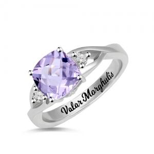 Custom Cushion Birthstone Ring Sterling Silver