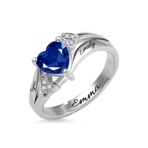Engraved Heart Birthstone Ring