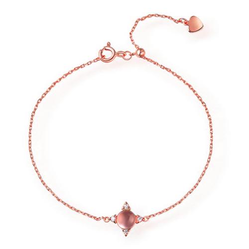 Natural Pink Quartz Bracelet Sterling Silver 7.5