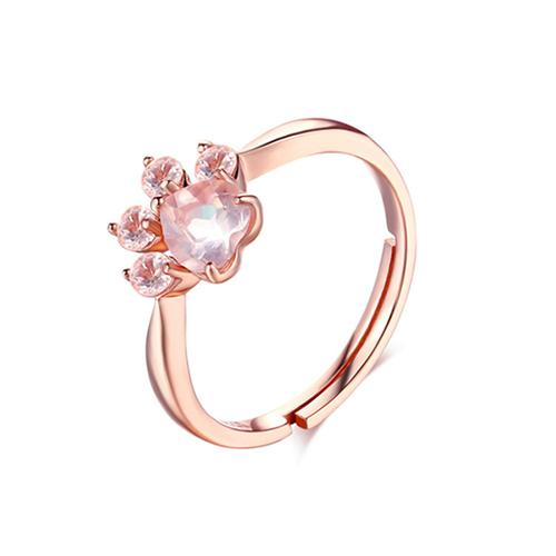 Natural Crystal Pink Cat Paw Ring