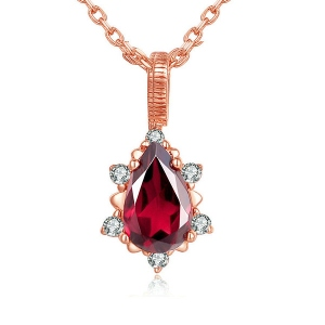Natural Red Garnet Necklace In Rose Gold