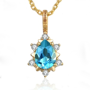 Natural Drop Gemstone Necklace 18K gold plated silver