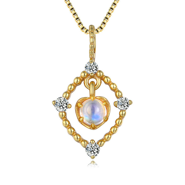 Natural Blue Moonstone Necklace 18K gold plated silver