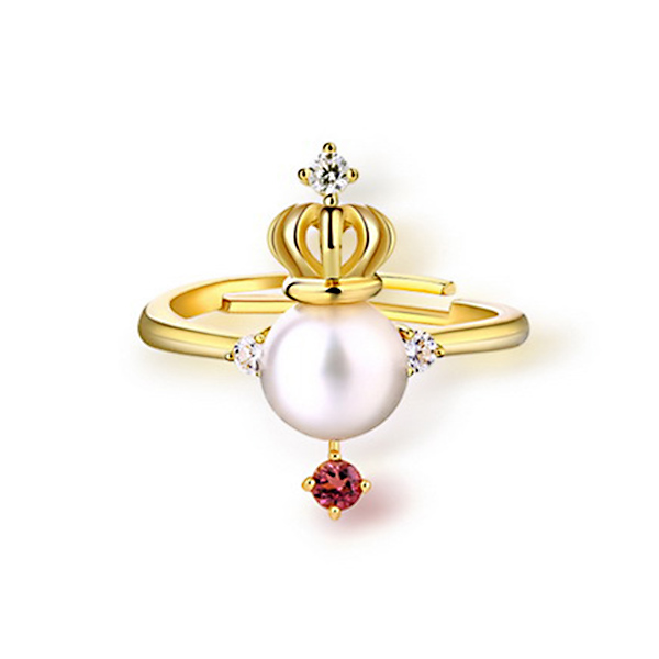 Freshwater Pearl Crown Ring With Natural Pink Tourmaline Gold Plated Silver