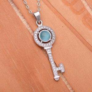 Blue Cat Eye Key Pendant