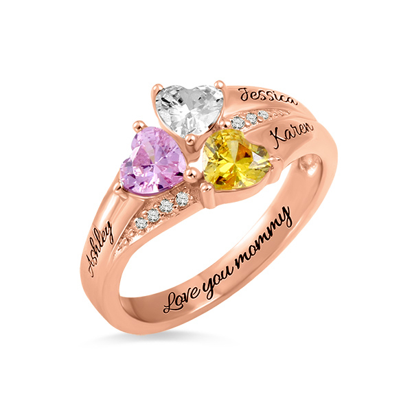 Custom Heart Birthstone Engraved Ring In Rose Gold