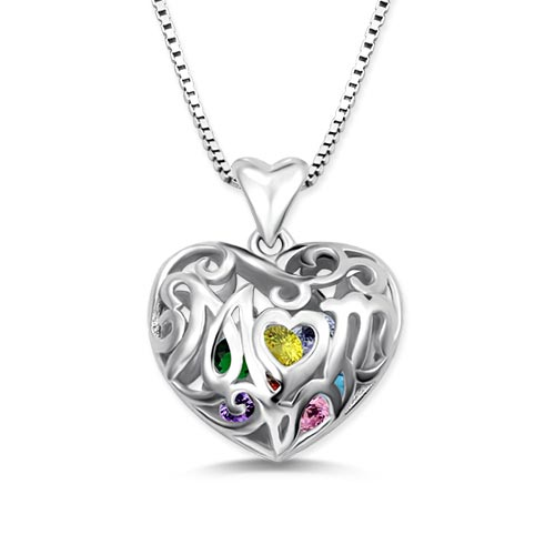 Custom Mom's Heart Cage Birthstone Necklace Sterling Silver