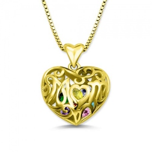 Custom Mom's Heart Cage Birthstone Necklace Gold Plated