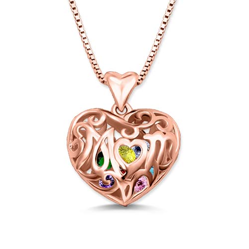 Custom Mom Heart Cage Birthstone Necklace In Rose Gold