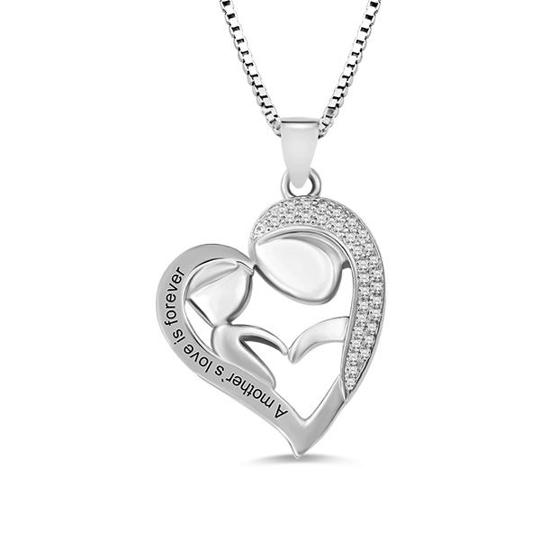 Personalized Mom And Daughter Necklace In Silver