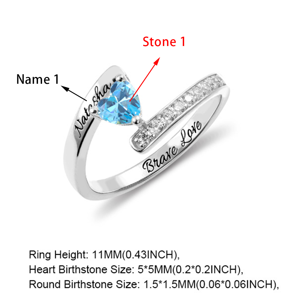 Engraved One Heart Birthstone Ring in Silver