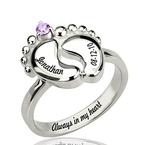 Sterling Silver Personalized Birhtstone Baby Feet Name Ring Custom Made 2 Names