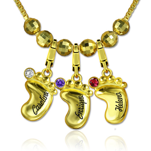 Engraved Name 3D Baby Feet Necklace with Birthstone