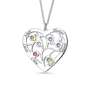 Sterling Silver Heart Family Tree Necklace Engraved with Name& Birthstones