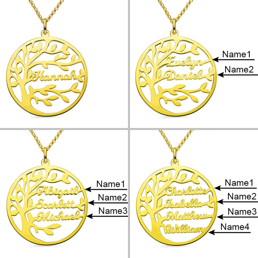 Personalized Family Tree Name Necklace in Silver and Stainless Steel