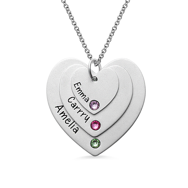 Triple Heart Name Necklace With Birthstones Sterling Silver