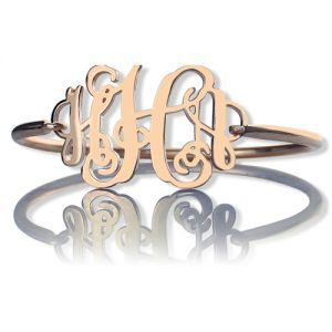Rose Gold Monogram Initial Bangle Bracelet 1.25 Inch