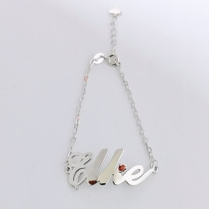 Sterling Silver Carrie Name Bracelet With Birthstone