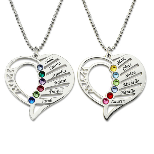 Engraved Heart Mother Birthstones Necklace Sterling Silver