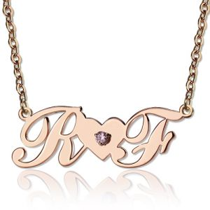 Custom 2 Initial Birthstone Name Necklace Rose Gold
