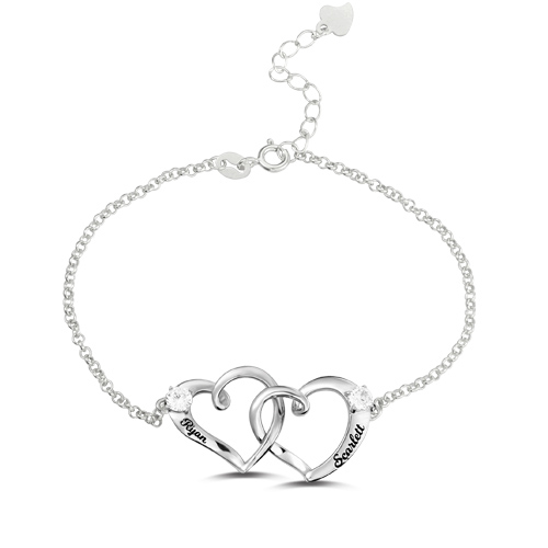 Custom Double Heart Engraved Names Bracelet Sterling Silver