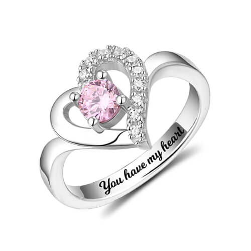 Custom Birthstone Heart Ring For Her Sterling Silver